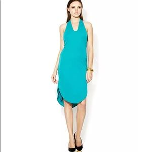Halston Heritage Aqua Knit Halter Mini Dress SzS